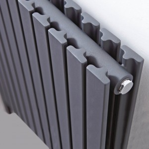 "820mm(w) x 800mm(h) ""Axim"" Double Horizontal Anthracite Floor Standing Radiator (17 x 2 Sections)"