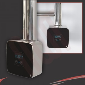 "Rica ""Stone"" Black/Chrome Thermostatic Element with Bluetooth Connectivity"