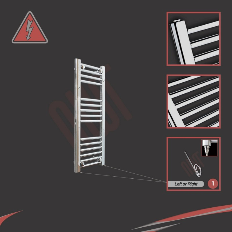 300mm (w) x 800mm (h) Electric Straight Chrome Towel Rail (Single Heat or Thermostatic Option)