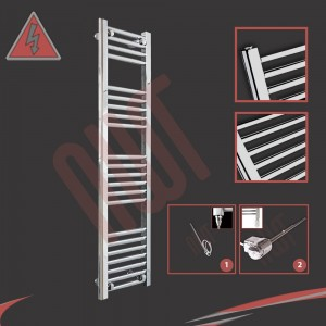 "300mm (w) x 1200mm (h) Electric ""Straight Chrome"" Towel Rail (Single Heat or Thermostatic Option)"
