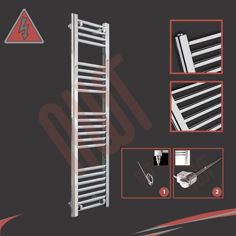 300mm Wide Black Designer Electric Heated Towel Rail: 300mm (w) X 1200mm (h) Straight Chrome Electric Towel Rails