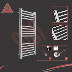 "400mm (w) x 800mm (h) Electric ""Straight Chrome"" Towel Rail (Single Heat or Thermostatic Option)"