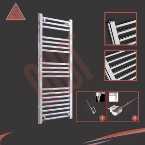 "400mm (w) x 1000mm (h) Electric ""Straight Chrome"" Towel Rail (Single Heat or Thermostatic Option)"