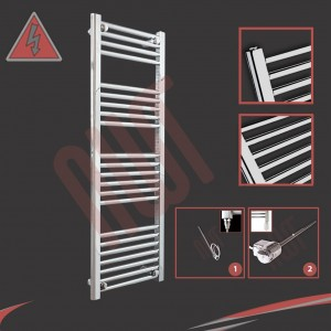 400mm (w) x 1200mm (h) Electric Straight Chrome Towel Rail (Single Heat or Thermostatic Option)