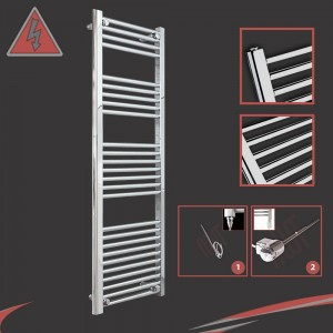 "400mm (w) x 1400mm (h) Electric ""Straight Chrome"" Towel Rail (Single Heat or Thermostatic Option)"
