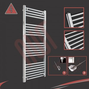 "500mm (w) x 1200mm (h) Electric ""Straight Chrome"" Towel Rail (Single Heat or Thermostatic Option)"