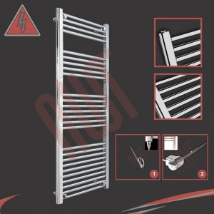 "500mm (w) x 1400mm (h) Electric ""Straight Chrome"" Towel Rail (Single Heat or Thermostatic Option)"