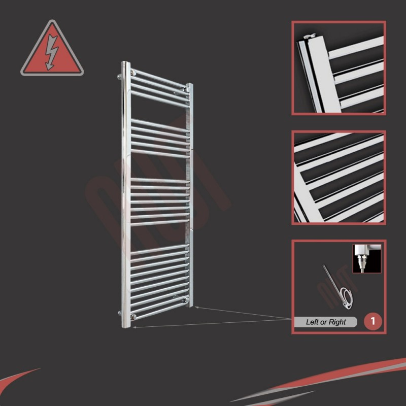 500mm (w) x 1400mm (h) Electric Straight Chrome Towel Rail (Single Heat or Thermostatic Option)