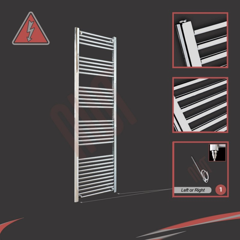 500mm (w) x 1800mm (h) Electric Straight Chrome Towel Rail (Single Heat or Thermostatic Option)