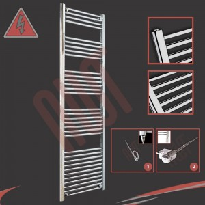 "500mm (w) x 1800mm (h) Electric ""Straight Chrome"" Towel Rail (Single Heat or Thermostatic Option)"