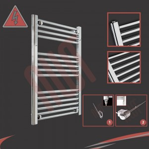 "600mm (w) x 800mm (h) Electric ""Straight Chrome"" Towel Rail (Single Heat or Thermostatic Option)"