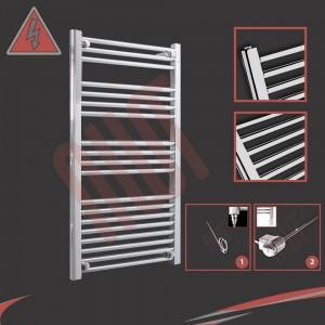 600mm (w) x 1000mm Electric Straight Chrome Towel Rail (Single Heat or Thermostatic Option)
