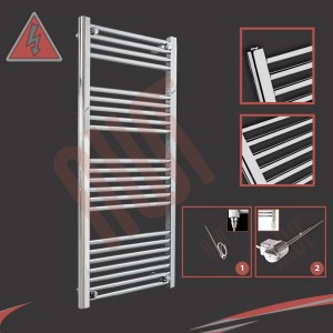 "600mm (w) x 1200mm (h) Electric ""Straight Chrome"" Towel Rail (Single Heat or Thermostatic Option)"