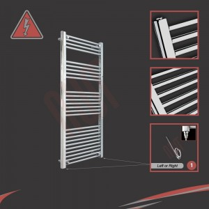 600mm (w) x 1400mm (h) Electric Straight Chrome Towel Rail (Single Heat or Thermostatic Option)