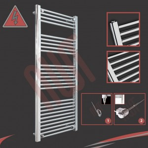 "600mm (w) x 1400mm (h) Electric ""Straight Chrome"" Towel Rail (Single Heat or Thermostatic Option)"