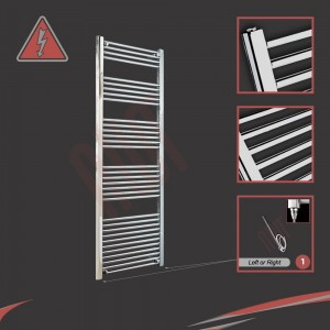600mm (w) x 1800mm (h) Electric Straight Chrome Towel Rail (Single Heat or Thermostatic Option)