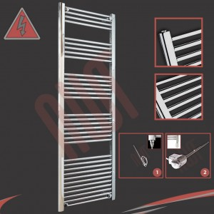 "600mm (w) x 1800mm (h) Electric ""Straight Chrome"" Towel Rail (Single Heat or Thermostatic Option)"