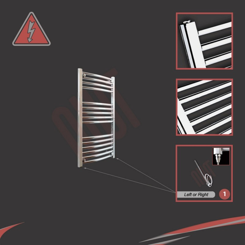 400mm (w) x 800mm (h) Electric Curved Chrome Towel Rail (Single Heat or Thermostatic Option)