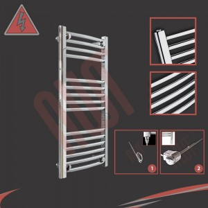 "400mm (w) x 800mm (h) Electric ""Curved Chrome"" Towel Rail (Single Heat or Thermostatic Option)"