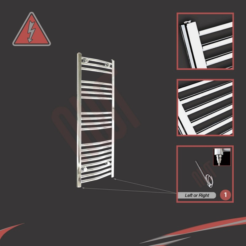 400mm (w) x 1000mm (h) Electric Curved Chrome Towel Rail (Single Heat or Thermostatic Option)