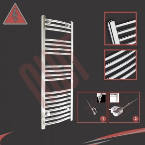 "400mm (w) x 1000mm (h) Electric ""Curved Chrome"" Towel Rail (Single Heat or Thermostatic Option)"