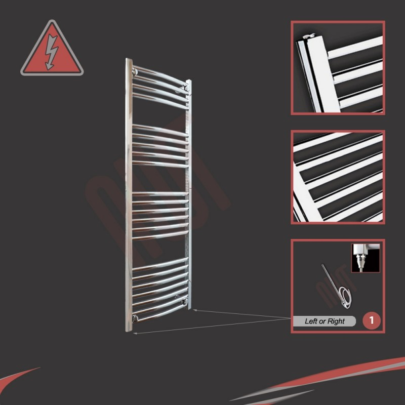 400mm (w)  x 1200mm (h) Electric Curved Chrome Towel Rail (Single Heat or Thermostatic Option)