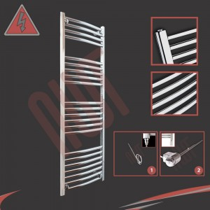 "400mm (w) x 1200mm (h) Electric ""Curved Chrome"" Towel Rail (Single Heat or Thermostatic Option)"