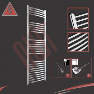"400mm (w) x 1400mm (h) Electric ""Curved Chrome"" Towel Rail (Single Heat or Thermostatic Option)"