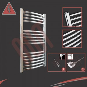 "500mm (w) x 800mm (h) Electric ""Curved Chrome"" Towel Rail (Single Heat or Thermostatic Option)"
