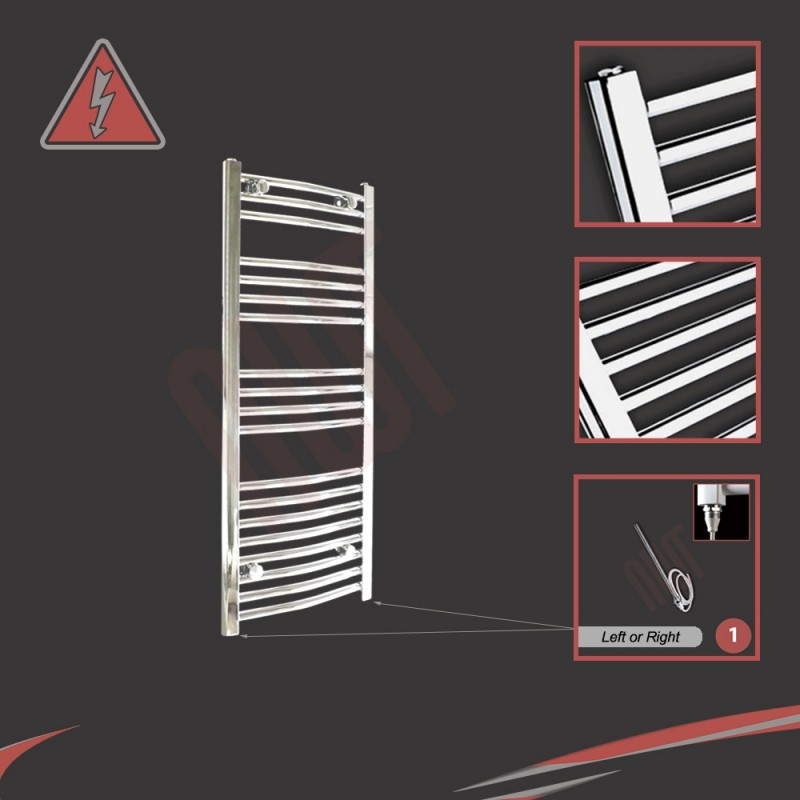500mm (w) x 1000mm (h) Electric Curved Chrome Towel Rail (Single Heat or Thermostatic Option)