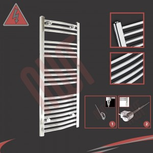 "500mm (w) x 1000mm (h) Electric ""Curved Chrome"" Towel Rail (Single Heat or Thermostatic Option)"