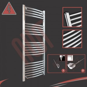 "500mm (w) x 1200mm (h) Electric ""Curved Chrome"" Towel Rail (Single Heat or Thermostatic Option)"