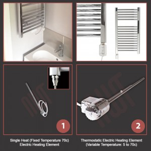 500mm (w) x 1200mm (h) Electric Curved Chrome Towel Rail (Single Heat or Thermostatic Option)