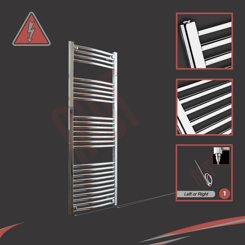500mm (w)  x 1400mm (h) Electric Curved Chrome Towel Rail (Single Heat or Thermostatic Option)