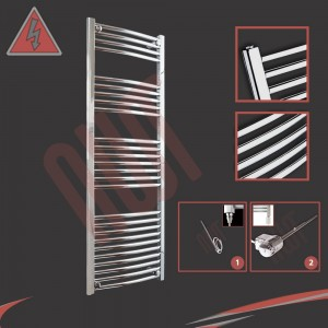 "500mm (w) x 1400mm (h) Electric ""Curved Chrome"" Towel Rail (Single Heat or Thermostatic Option)"