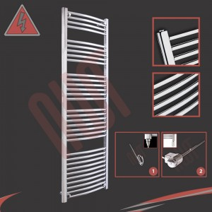 "500mm (w) x 1600mm (h) Electric ""Curved Chrome"" Towel Rail (Single Heat or Thermostatic Option)"