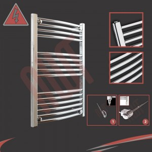 "600mm (w) x 800mm (h) Electric ""Curved Chrome"" Towel Rail (Single Heat or Thermostatic Option)"