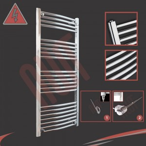 "600mm (w) x 1200mm (h) Electric ""Curved Chrome"" Towel Rail (Single Heat or Thermostatic Option)"