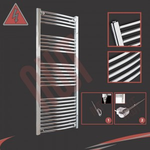 "600mm (w) x 1400mm (h) Electric ""Curved Chrome"" Towel Rail (Single Heat or Thermostatic Option)"