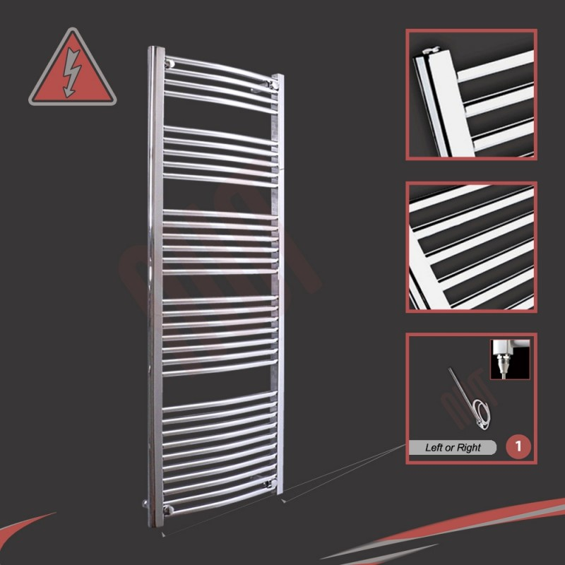 600mm (w) x 1600mm (h) Electric Curved Chrome Towel Rail (Single Heat or Thermostatic Option)