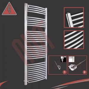 "600mm (w) x 1600mm (h) Electric ""Curved Chrome"" Towel Rail (Single Heat or Thermostatic Option)"