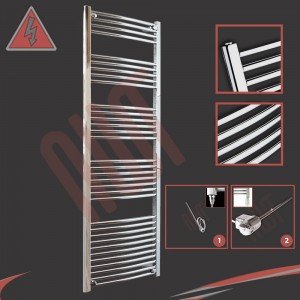 "600mm (w) x 1800mm (h) Electric ""Curved Chrome"" Towel Rail (Single Heat or Thermostatic Option)"