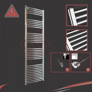 "500mm (w) x 1800mm (h) Electric ""Curved Chrome"" Towel Rail (Single Heat or Thermostatic Option)"