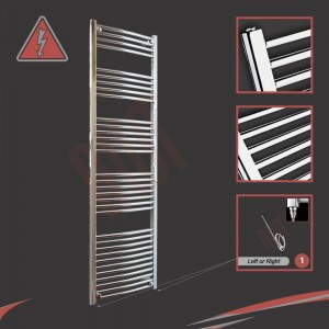 500mm (w)  x 1800mm (h) Electric Curved Chrome Towel Rail (Single Heat or Thermostatic Option)