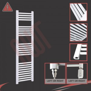 "300mm (w) x 1500mm (h) Electric ""Straight White"" Towel Rail (Single Heat or Thermostatic Option)"