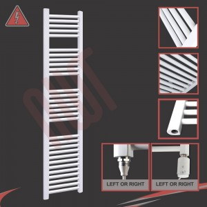 """300mm (w) x 1800mm (h) Electric """"Straight White"""" Towel Rail (Single Heat or Thermostatic Option)"""