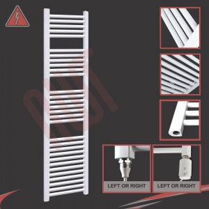 """400mm (w) x 1800mm (h) Electric """"Straight White"""" Towel Rail (Single Heat or Thermostatic Option)"""