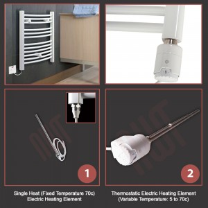 500mm (w) x 1200mm (h) Electric Straight White Towel Rail (Single Heat or Thermostatic Option)