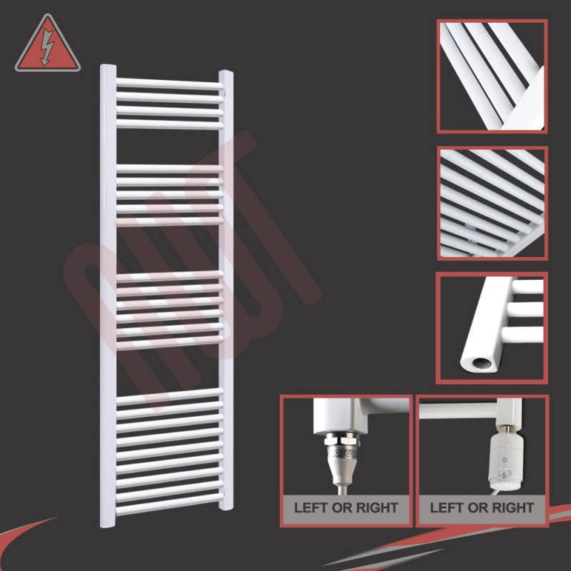 500mm (w) x 1500mm (h) Straight Electric White Towel Rail (Single Heat or Thermostatic Option)