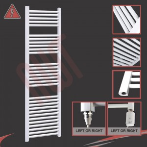 """500mm (w) x 1800mm (h) Electric """"Straight White"""" Towel Rail (Single Heat or Thermostatic Option)"""